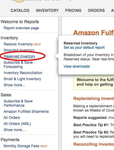 amazon reserved inventory step 2