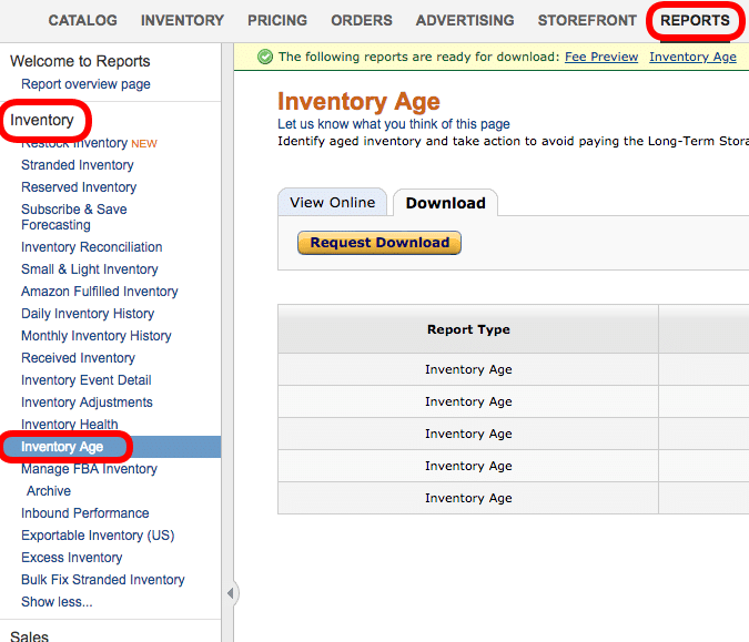 amazon long term inventory